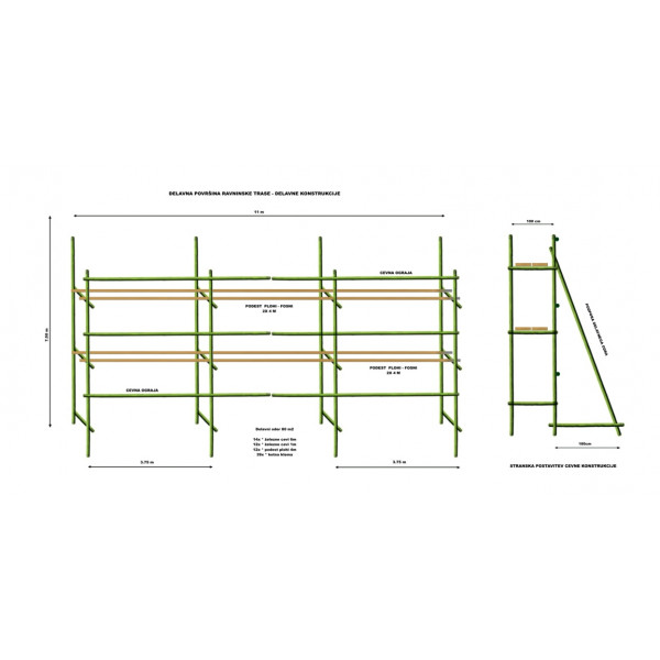 Najem delavni gradbeni cevni oder 320m2